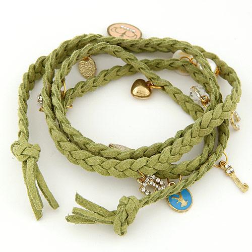 Mode Samtschnur Armbänder, Wollschnur, mit Zinklegierung, goldfarben plattiert, Armband  Bettelarmband & 4-Strang & mit Strass, grün, 820x20mm, verkauft per ca. 32.28 ZollInch Strang
