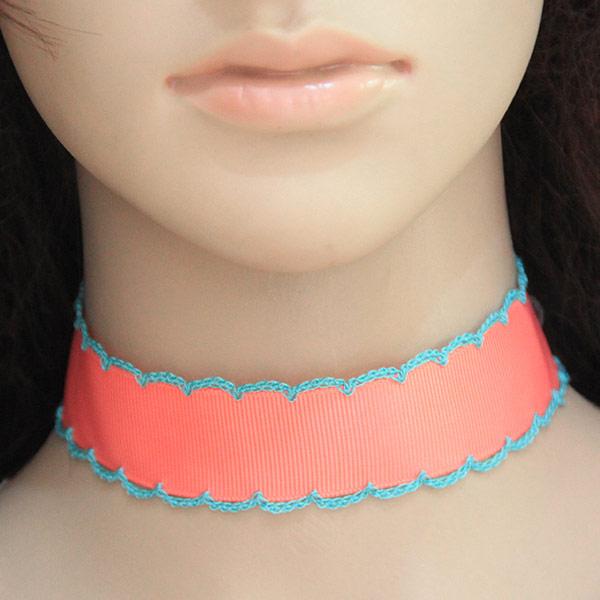 Mode-Halskette, Zinklegierung, mit Stoff, mit Verlängerungskettchen von 5cm, Platinfarbe platiniert, frei von Blei & Kadmium, 28mm, Länge:11.81 ZollInch, verkauft von PC