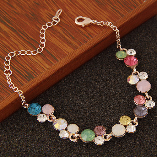 Buy Zinc Alloy Bracelet 5cm extender chain rose gold color plated faceted & rhinestone lead & cadmium free 180x12mm Sold Per Approx 7.09 Inch Strand
