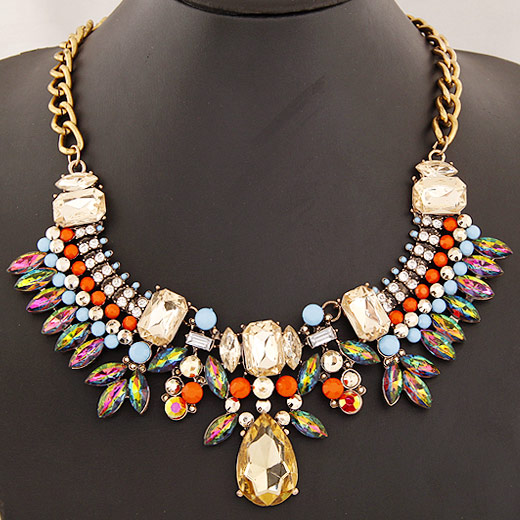 Buy Fashion Statement Necklace Zinc Alloy 5cm extender chain antique gold color plated faceted & rhinestone lead & cadmium free 400mm Sold Per Approx 15.75 Inch Strand