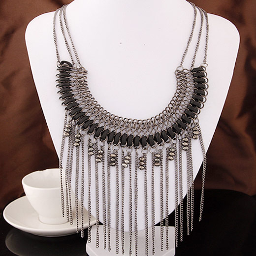Fashion Statement Necklace Zinc Alloy plumbum black color plated lead & cadmium free 400mm Sold Per Approx 15.75 Inch Strand