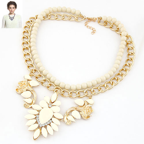Buy Fashion Statement Necklace Zinc Alloy Resin gold color plated lead & cadmium free 110mm Sold Per Approx 15.75 Inch Strand