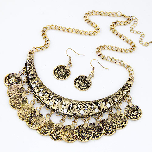 Buy Vintage Coin Statement Jewelry Set earring & necklace Zinc Alloy antique bronze color plated twist oval chain lead & cadmium free 400x110x45mm Length:Approx 15.75 Inch Sold Set