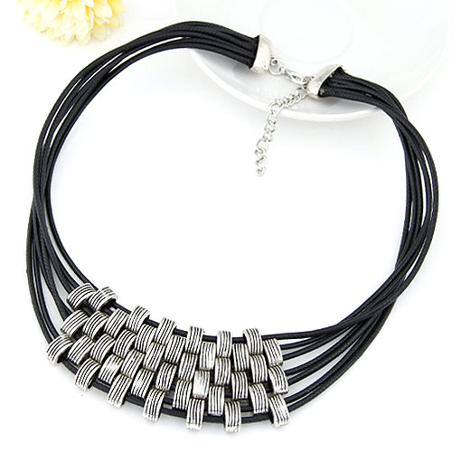 Buy Zinc Alloy Jewelry Necklace Waxed Linen Cord 5cm extender chain antique silver color plated lead & cadmium free 400x80x35mm Sold Per Approx 15.75 Inch Strand