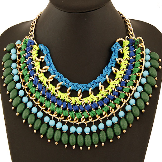 Buy Fashion Statement Necklace Zinc Alloy Nylon Cord & Resin gold color plated lead & cadmium free 400x200x70mm Sold Per Approx 15.75 Inch Strand