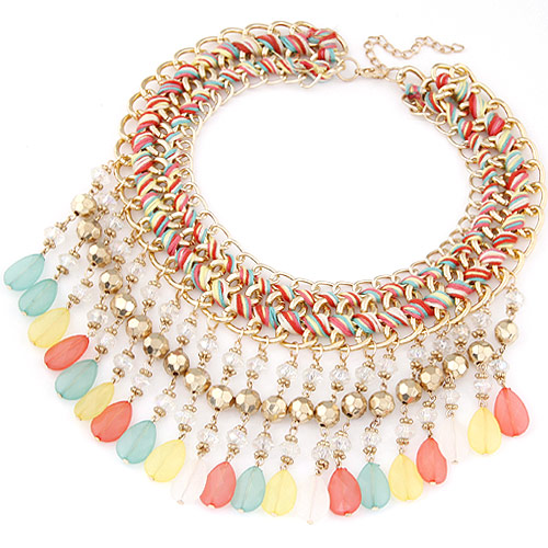 Buy Chain Woven Necklace Zinc Alloy Resin Teardrop gold color plated multi-colored lead & cadmium free 400x88mm Sold Per Approx 15.75 Inch Strand