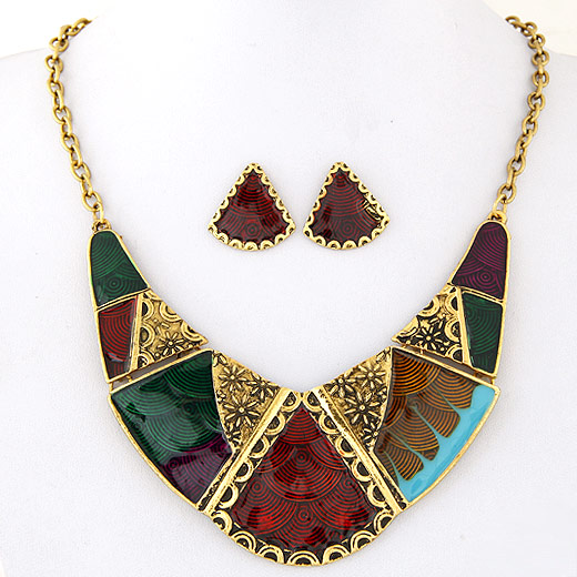Zinc Alloy Jewelry Sets earring & necklace antique gold color plated oval chain & enamel lead & cadmium free 400mm Length:Approx 15.75 Inch Sold Set