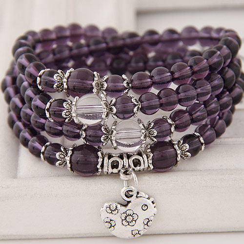 Glasperlen Multilayer Armbänder, Zinklegierung, mit Glas, Huhn, antik silberfarben plattiert, Armband  Bettelarmband & 4-Strang, violett, frei von Blei & Kadmium, 5mm, verkauft per ca. 27.56 ZollInch Strang
