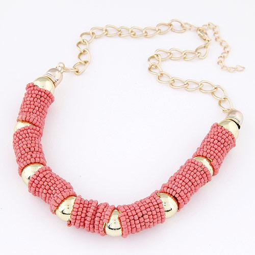 Glasperlen -Halsketten-, Zinklegierung, mit Glas-Rocailles, goldfarben plattiert, weinrot, frei von Blei & Kadmium, 400x200x14mm, verkauft per ca. 15.75 ZollInch Strang