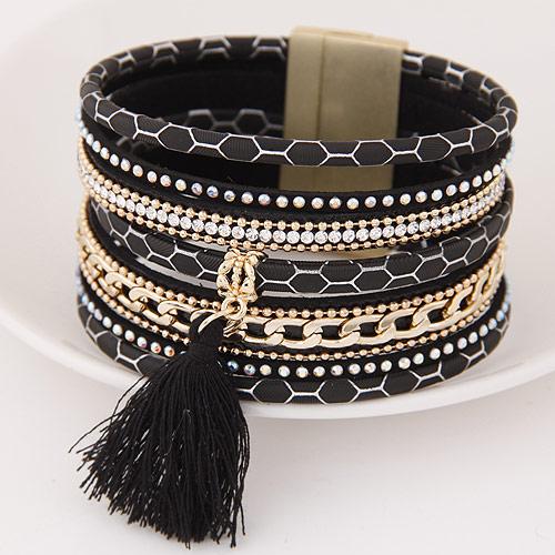 Slake Armband, Zinklegierung, QuasteTroddel, goldfarben plattiert, mit Strass, schwarz, 175x35mm, Innendurchmesser:ca. 55mm, Länge:ca. 6.89 ZollInch, verkauft von setzen