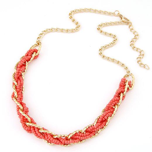 Glasperlen -Halsketten-, Zinklegierung, mit Glas-Rocailles, goldfarben plattiert, frei von Blei & Kadmium, 420x210x10mm, verkauft per ca. 16.54 ZollInch Strang