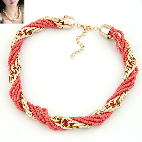 Glasperlen -Halsketten-, Zinklegierung, mit Glas-Rocailles, mit Verlängerungskettchen von 5cm, goldfarben plattiert, frei von Blei & Kadmium, 400x12mm, verkauft per ca. 15.75 ZollInch Strang