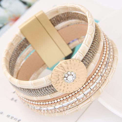 Slake Armband, Zinklegierung, mit Kuhhaut, plattiert, mit Strass, hellgrau, frei von Blei & Kadmium, 175x35mm, verkauft per ca. 6.5 ZollInch Strang