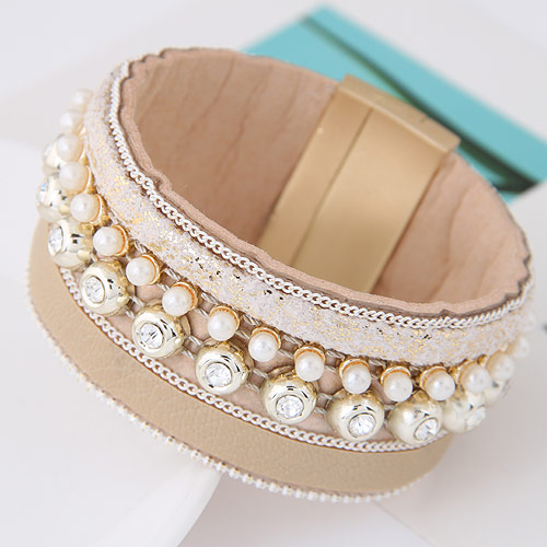 Slake Armband, Zinklegierung, mit ABS-Kunststoff-Perlen & PU Leder, goldfarben plattiert, kakifarben, 175x30mm, Länge:ca. 6.89 ZollInch, verkauft von PC