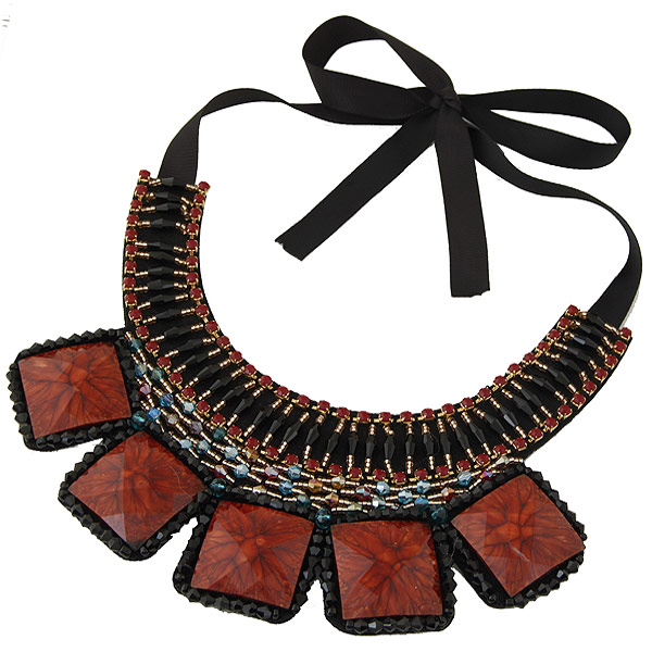 Kragen Halskette, Zinklegierung, mit Ripsband & Glas-Rocailles & Harz, goldfarben plattiert, mit Strass, frei von Blei & Kadmium, 400mm, Länge:15.75 ZollInch, verkauft von PC