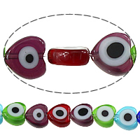 Böser Blick Lampwork Perlen, Herz, böser Blick- Muster, gemischte Farben, 8x8x3mm, Bohrung:ca. 1mm, Länge:ca. 16 ZollInch, 10SträngeStrang/Menge, ca. 55PCs/Strang, verkauft von Menge