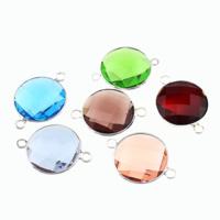 Glas Schmuckverbinder, Messing, mit Glas, flache Runde, silberfarben plattiert, facettierte & 1/1-Schleife, gemischte Farben, frei von Nickel, Blei & Kadmium, 28x20x7mm, Bohrung:ca. 2mm, 20PCs/Menge, verkauft von Menge