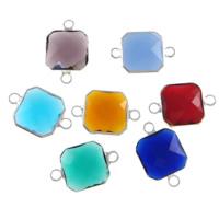 Glas Schmuckverbinder, Messing, mit Glas, Quadrat, silberfarben plattiert, facettierte & 1/1-Schleife, gemischte Farben, frei von Nickel, Blei & Kadmium, 12x12x5mm, Bohrung:ca. 2mm, 20PCs/Menge, verkauft von Menge