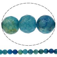 Natürliche Crackle Achat Perlen, Geknister Achat, rund, verschiedene Größen vorhanden & facettierte, blau, Bohrung:ca. 1mm, Länge:ca. 15 ZollInch, verkauft von Menge