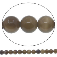 Natürliche graue Achat Perlen, Grauer Achat, rund, verschiedene Größen vorhanden, Bohrung:ca. 1mm, Länge:ca. 15 ZollInch, verkauft von Menge