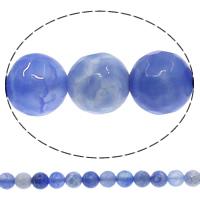 Natürliche Crackle Achat Perlen, Geknister Achat, rund, facettierte, blau, 8mm, Bohrung:ca. 1mm, Länge:ca. 15 ZollInch, 10SträngeStrang/Menge, ca. 48PCs/Strang, verkauft von Menge