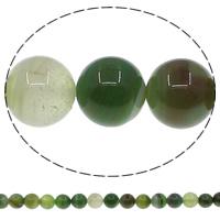 Natürliche grüne Achat Perlen, Grüner Achat, rund, verschiedene Größen vorhanden, Bohrung:ca. 1mm, Länge:ca. 15 ZollInch, verkauft von Menge
