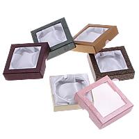 Karton Armbandkasten, mit Satinband, Quadrat, gemischte Farben, 90x90x25mm, 5Taschen/Menge, 18PCs/Tasche, verkauft von Menge