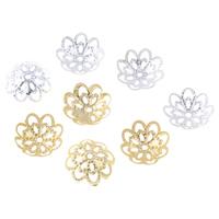 Eisen Perlenkappen, Blume, plattiert, hohl, keine, frei von Nickel, Blei & Kadmium, 12x3mm, Bohrung:ca. 1mm, 500PCs/Tasche, verkauft von Tasche