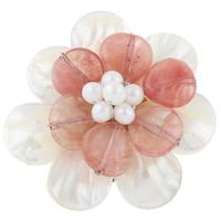 Weiße Muschel Brosche, mit Perlen & Kirsche Quarz & Messing, Blume, natürlich, 51x49x20mm, verkauft von PC