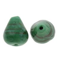 Goldfolie Lampwork Perlen, Tropfen, handgemacht, grün, 12.5x15mm, Bohrung:ca. 1.5mm, 20PCs/Tasche, verkauft von Tasche
