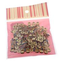 Eisen Zwischenperlen, mit OPP, Rondell, goldfarben plattiert, mit Strass, frei von Nickel, Blei & Kadmium, 8x3mm, 100x170mm, Bohrung:ca. 1mm, 200PCs/Tasche, verkauft von Tasche