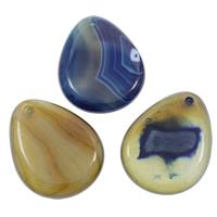 Spitze Achat Anhänger, Streifen Achat, Tropfen, gemischte Farben, 35x45x8mm, Bohrung:ca. 2mm, 20PCs/Tasche, verkauft von Tasche