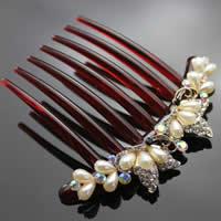 Zinklegierung Dekorative Haarkämme, mit ABS Kunststoff & Acryl, Schmetterling, goldfarben plattiert, Nachahmung Perle & mit Strass, frei von Nickel, Blei & Kadmium, 105x95mm, 6PCs/Tasche, verkauft von Tasche