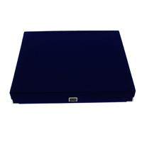 Baumwollsamt Halskettenkasten, mit Karton & Messing, Rechteck, blau, 230x195x35mm, 10PCs/Tasche, verkauft von Tasche