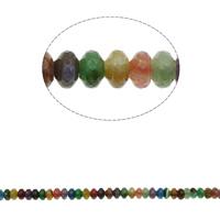 Natürliche Crackle Achat Perlen, Geknister Achat, Rondell, facettierte, gemischte Farben, 24x7mm, Bohrung:ca. 1mm, ca. 40PCs/Strang, verkauft per ca. 15.7 ZollInch Strang