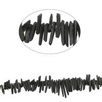 Natürliche Beschichtung Quarz Perlen, Natürlicher Quarz, plattiert, schwarz, 13x4x5mm-46x4x6mm, Bohrung:ca. 1mm, ca. 77PCs/Strang, verkauft per ca. 15.7 ZollInch Strang