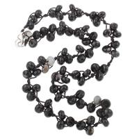 Schwarzer Achat Halskette, mit Nylonschnur, Zinklegierung Karabinerverschluss, Rondell, 8x5mm, verkauft per ca. 19.5 ZollInch Strang