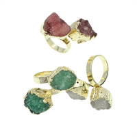 Druzy Finger Ring, Messing, mit Eisquarz Achat, goldfarben plattiert, druzy Stil, gemischte Farben, frei von Nickel, Blei & Kadmium, 15x14x12mm, Größe:6.5, 3PCs/Tasche, verkauft von Tasche