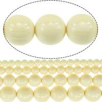 Imitierter Bernstein Harz Perlen, rund, verschiedene Größen vorhanden, beige, Bohrung:ca. 1.5mm, Länge:ca. 15.5 ZollInch, verkauft von Menge