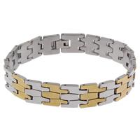 Edelstahl Schmuck Armband, plattiert, zweifarbig, 11.50x12x2mm, verkauft per ca. 8 ZollInch Strang