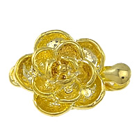 Zinklegierung Schnappschließe, Blume, goldfarben plattiert, Einzelstrang, frei von Nickel, Blei & Kadmium, 16x11x6mm, Bohrung:ca. 2mm, 100PCs/Menge, verkauft von Menge