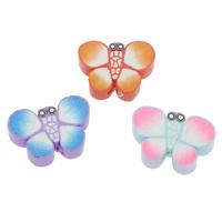 Polymer Ton Perlen , Schmetterling, handgemacht, gemischte Farben, 18x14x5mm-20x15x5mm, Bohrung:ca. 1.5mm, 100PCs/Tasche, verkauft von Tasche