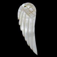 Natürliche weiße Muschel Anhänger, Flügelform, 18x50x2-20x60x3mm, Bohrung:ca. 1mm, verkauft von PC