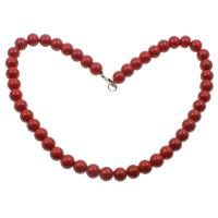 Koralle Halskette, Synthetische Koralle, Zinklegierung Karabinerverschluss, rund, rot, 10mm, verkauft per ca. 18.5 ZollInch Strang