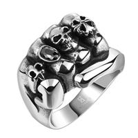 comeon® Finger-Ring, Edelstahl, Hand, mit Totenkopf-Muster & verschiedene Größen vorhanden & mit kubischem Zirkonia & Schwärzen, 24x17mm, verkauft von PC