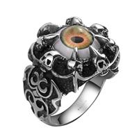 Evil Eye Schmuck Fingerring, Edelstahl, mit Harz, blöser Blick, verschiedene Größen vorhanden & Schwärzen, 28x25mm, verkauft von PC