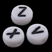 Alphabet Acryl Perlen, flache Runde, verschiedene Muster für Wahl & mit Brief Muster & Volltonfarbe, weiß, 4x7mm, Bohrung:ca. 1mm, ca. 3600PCs/Tasche, verkauft von Tasche