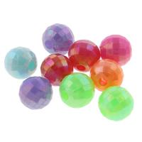Plattierte Acrylperlen, Acryl, rund, AB Farben plattiert, facettierte & Volltonfarbe, gemischte Farben, 6mm, Bohrung:ca. 1mm, ca. 4700PCs/Tasche, verkauft von Tasche