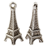Zinklegierung Gebäude Anhänger, Eiffelturm, antik silberfarben plattiert, frei von Nickel, Blei & Kadmium, 8.50x25x11.50mm, Bohrung:ca. 1.5mm, ca. 500PCs/kg, verkauft von kg