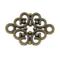 Blume Zinklegierung Schmuckverbinder, antike Bronzefarbe plattiert, 1/1-Schleife, frei von Nickel, Blei & Kadmium, 19x13x2mm, Bohrung:ca. 2mm, 500PCs/Menge, verkauft von Menge